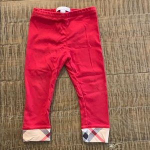 Red Burberry pant leggings size 12 months